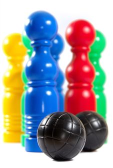 Colorful Bowling Pins And Ball Royalty Free Stock Photography