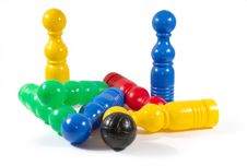 Colorful Bowling Pins And Ball