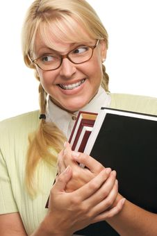 Free Nerdy Cute Student With Braces Carrying Her Books Stock Images - 5767644