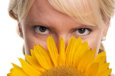 Free Attractive Blond With Sunflower Stock Images - 5767804