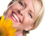 Free Attractive Blond With Sunflower Royalty Free Stock Image - 5767806