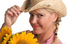 Free Attractive Blond With Sunflower & Hat Royalty Free Stock Images - 5767819