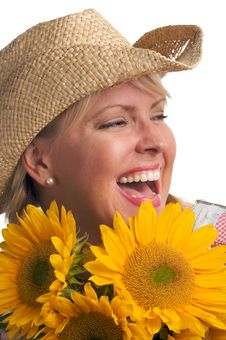 Attractive Blond With Sunflower & Hat Royalty Free Stock Photo