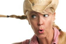 Attractive Blond With Cowboy Hat Stock Images