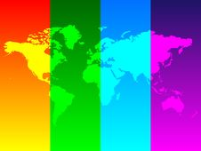 Free Colorful World Map Royalty Free Stock Photo - 5768175