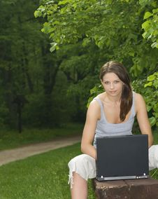 Free Young Business Woman Relaxing, Working On Laptop Royalty Free Stock Photo - 5768235