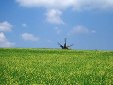 Windmill In The Field Stock Photo