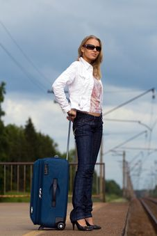 Free Tired Lady With Suitcase Stock Photos - 5768783