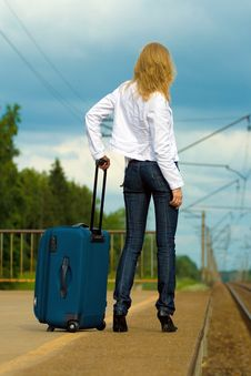 Free Young Lady Waiting A Train Stock Photos - 5768813
