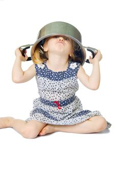 Free Little Cute Girl Holding Saucepan Over Her Head Royalty Free Stock Photos - 5769168
