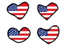 Hearts With American Flag Royalty Free Stock Photos