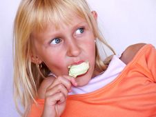 Free Adorable Girl With Ice Cream Royalty Free Stock Photos - 5769618