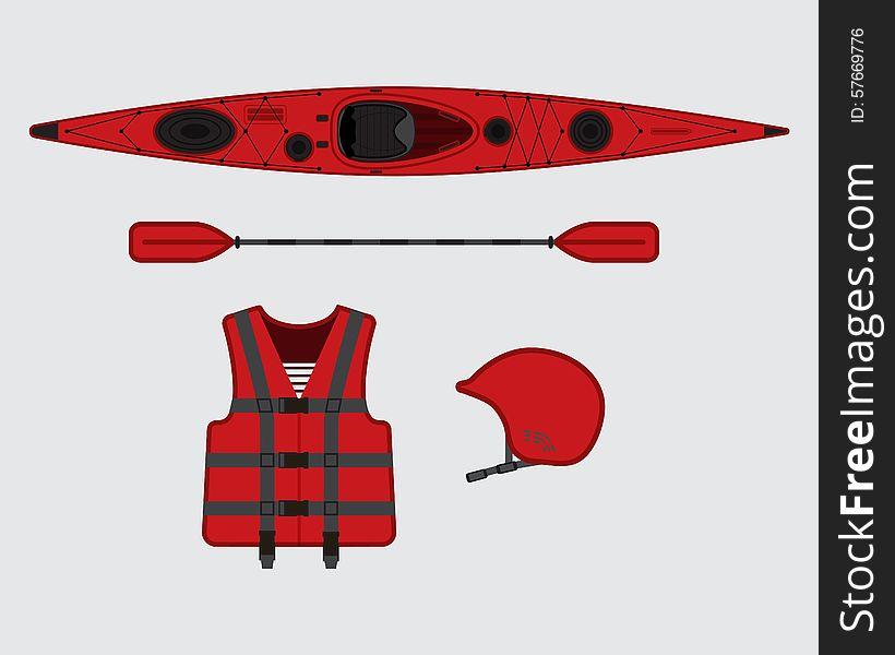 Red flat rafting vector set