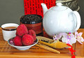 Free Tea Set With Chinese Tea And Litchees Royalty Free Stock Photos - 5775818