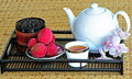 Free Tea Set With Chinese Tea And Litchees Stock Image - 5775841