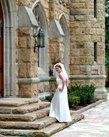 Free Bride On Stone Steps Stock Photo - 5770350