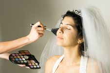 Free Engaged Woman Getting Make-up Done - Horizontal Stock Image - 5771051
