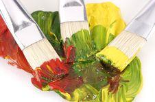 Free Three Paintbrushs On Wet Paint Stock Photo - 5771080
