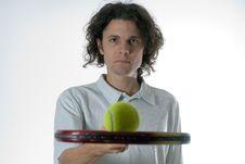 Free Man Holding Tennis Racket - Horizontal Stock Image - 5771351
