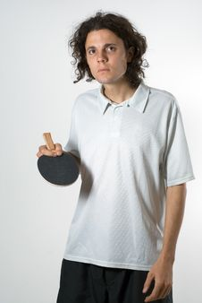Free Man With Ping-pong Paddle-Vertical Stock Photography - 5771372