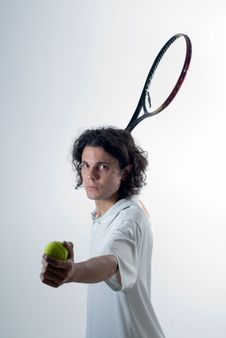 Free Man Playing Tennis - Vertical Stock Images - 5771414