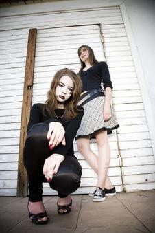 Free Goth Girl Crouching Down Stock Photo - 5773630