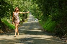 Free Pretty Hitch Hiker Royalty Free Stock Photography - 5774357