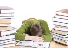 Free The Sleeping Student With Books Isolated Stock Images - 5776524