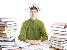 Free The Young Student With Books Isolated On A White Royalty Free Stock Images - 5776549