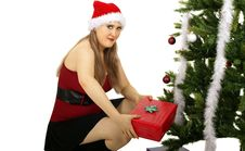 Mrs Santa Bring Gift Stock Images