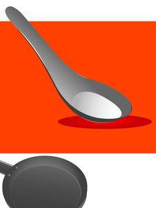 Spoon And Pan Stock Photo