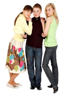 Free Serious Guy And Two Beautiiful Girls Stock Photography - 5779032