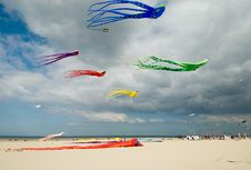 Free Colored Kites At The Beach Royalty Free Stock Photography - 5779207