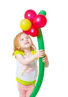 Girl With Ballon Stock Images