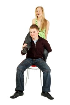 Sitting Guy Holds A Girl S Leg Stock Photography