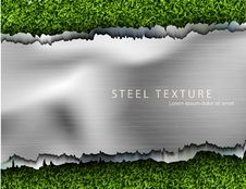 Metal Background With Shadows And Grass Stock Photo