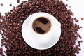Free Coffee And Coffee Beans Above Stock Image - 5785021