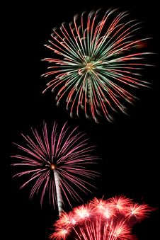Free Colorful Fireworks Against A Black Sky Stock Image - 5780881