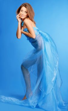 Free Woman In Blue Dress Royalty Free Stock Image - 5781776