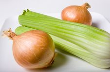 Free Celery And Two Onions Stock Photos - 5781903