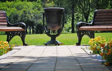 Urn In The Park. Royalty Free Stock Photo
