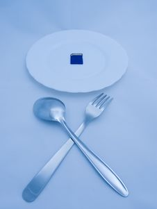 Free Digital Meal: Flash Card On Plate, Fork And Spoon Stock Images - 5782514