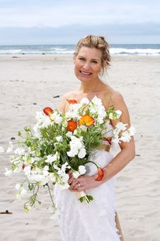 Free Beautiful Bride At Beach Stock Photo - 5787840