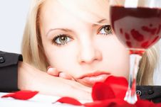 Free Lady With Wine Stock Image - 5788141