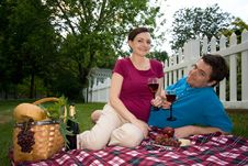 Couple On A Picnic Date-Horizontal. Royalty Free Stock Photos