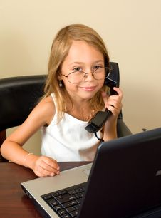 Free Young Girl Working At A Notebook PC Stock Image - 5791341