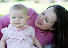 Mother And Baby Smiling - Horizontal Royalty Free Stock Photography