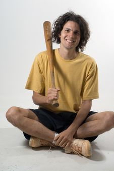 Free Man With Bat - Vertical Stock Photo - 5791750