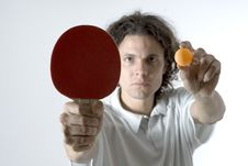 Free Man With Table Tennis Ball And Paddle-Horizontal Stock Photography - 5791782