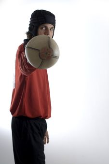 Man Holding Football - Vertical